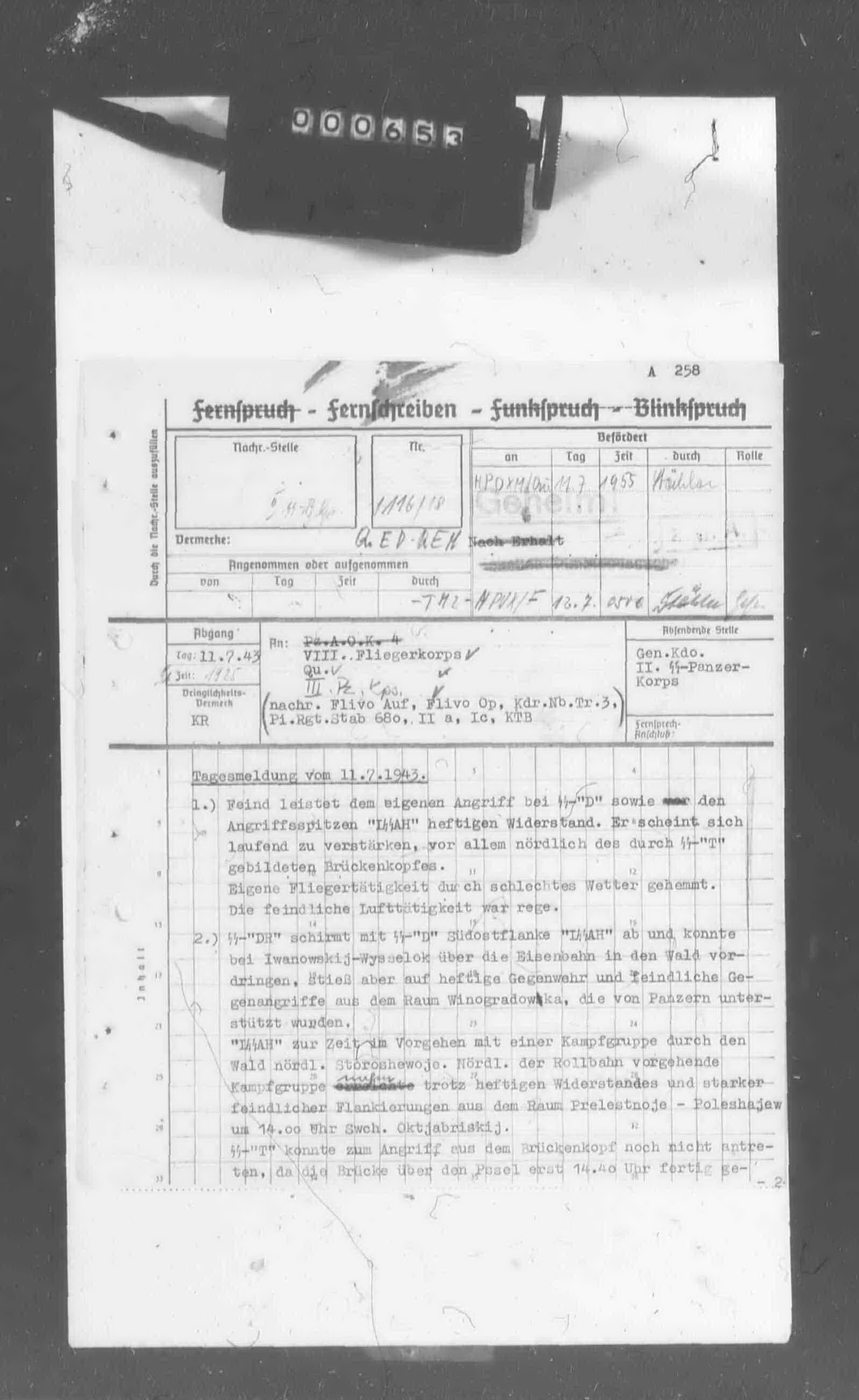 II. SS-Panzerkorps: Tagesmeldung vom 11.7.1943, 19:25. - PAGE 1